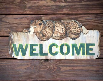 Custom sign, Bear sign, Welcome sign, personalized sign, cabin sign, bear art, rustic country cabin sign, fishing or hunting cabin, rustic