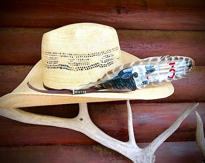 Custom hat feather, bucking bulls, rodeo stock art, special edition commemorative, hand painted turkey feather, PBR champion bucking bulls