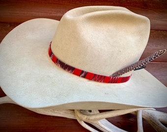 Western hat feather, red cloth style rustic tribal red, brown, white hat band, natural leather adjustable tie, boho, hippie, western retro