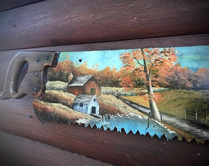 Vintage painted saw, folk art, large cross cut style vintage saw, ozark mountain farm scene, country farmhouse decor, rustic home decor, art