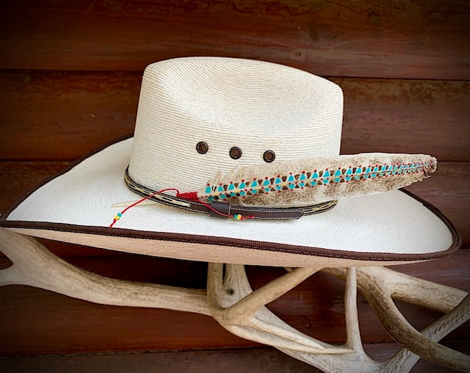 Painted hat feather by Kathy Adamson, western retro, cowboy and cowgirl hat accessories, tribal pattern with beaded wind tie,turkey feather
