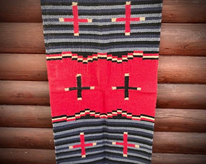 Southwestern rug, wall hanging, western cross, handwoven wool rug, light blue, gray, blue, red, tan, farmhouse, bohemian, rustic home decor