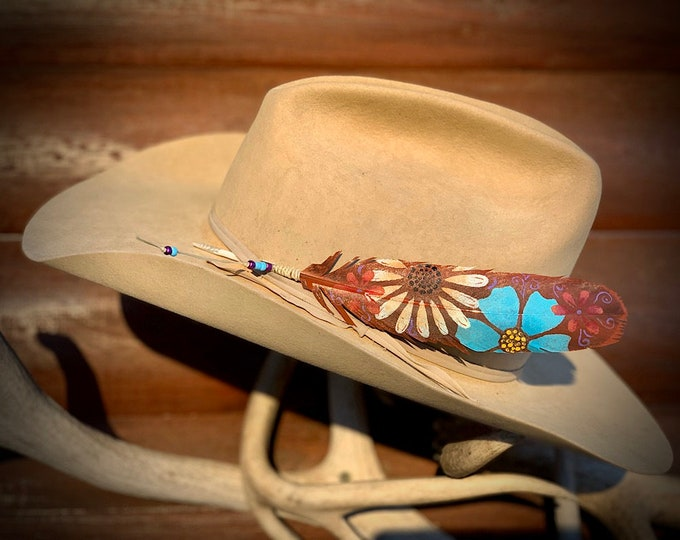 Custom hat feather, flower power, boho hippie hat feather, cowgirl hat feather, western retro girls hat feather, beet red, turquoise, retro