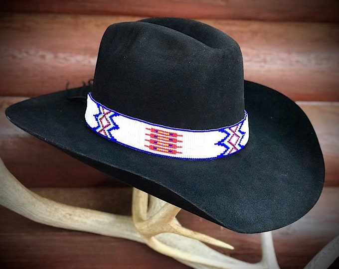 Beaded hat band, 1 1/4 wide beadwork cowboy hat band, blue, turquoise, red, white, yellow, with leather tabs and strong tie, hat accessorie