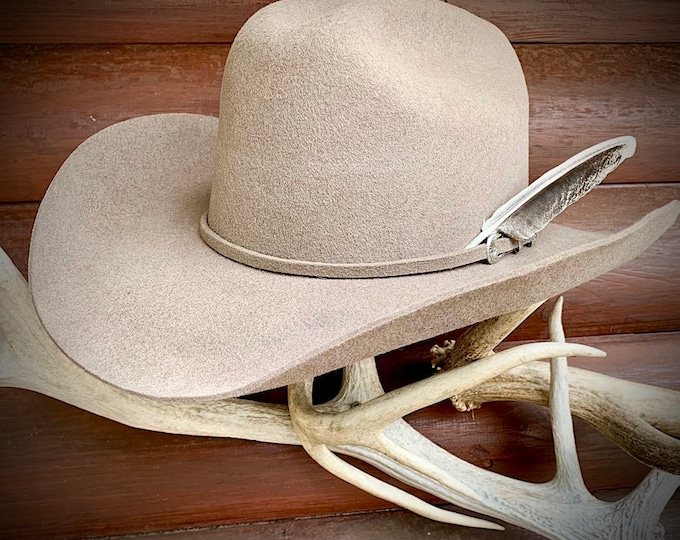 Vintage western hat, 7 1/2, felt hat, Bullhide by Monterro  with unique natural wild turkey jake tail western retro cowboy hat, buckskin tan
