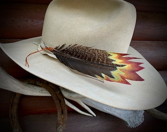 On a HOT STREAK, on fire custom hand painted turkey feather designed for cowboy and cowgirl contestants, handmade in USA, American sourced