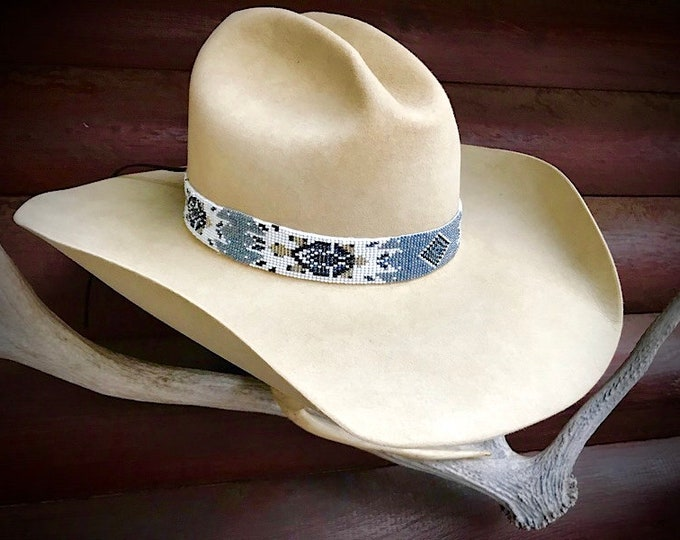 Beaded hat band, silver, black, white, grey, gold, handmade western retro cowboy hat band, unique, hat accessories, vintage retro