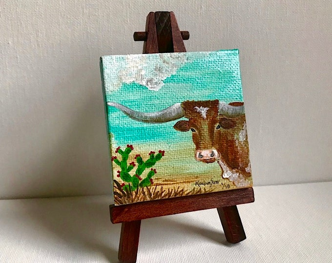 Miniature canvas art, mini western Texas longhorn painting, western acrylic painting, cattle and cactus, cowboy art, western retro decor