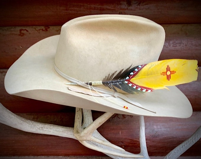 Zia sun symbol, hat feather, New Mexico flag cowboy hat feather, southwestern hat feather, western hat accessories, red and yellow, handmade