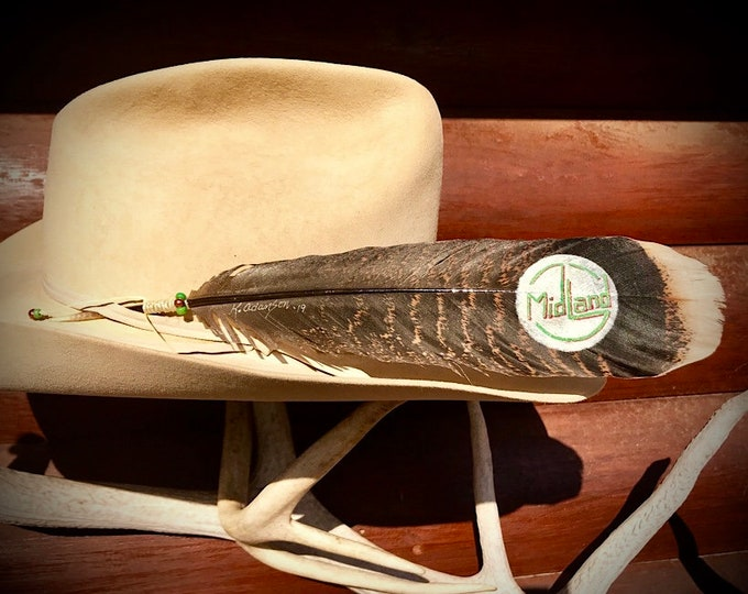 Custom hat feathers, logo or company hat feathers, your design or mine, wild turkey tail feather, with hand tied and beaded accent wind tie