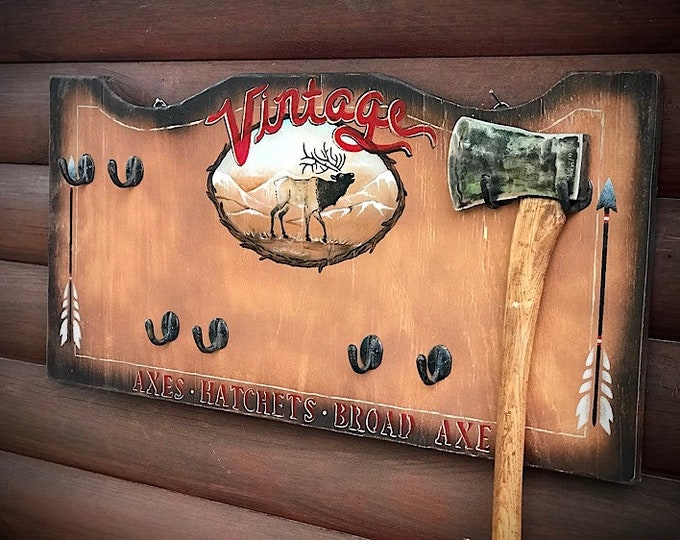 Rustic, handmade wood wall display for axes, hatchets, tomahawks or caps, hats, coat hanger, elk, mountain scene with arrows and rustic art