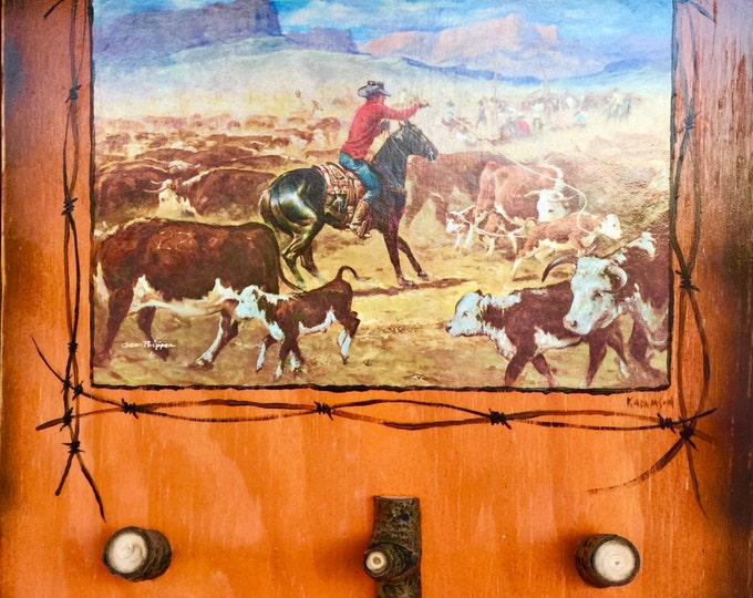 Cowboy decor, repurposed western print, rustic western hanger for keys, dog leash, western display, George Phippen print