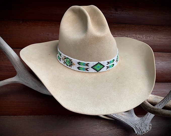 Beaded Hat band with adjustable leather ties, white, shades of green, gold, black, western retro, boho hippie, cowgirl hat, cowboy hat,