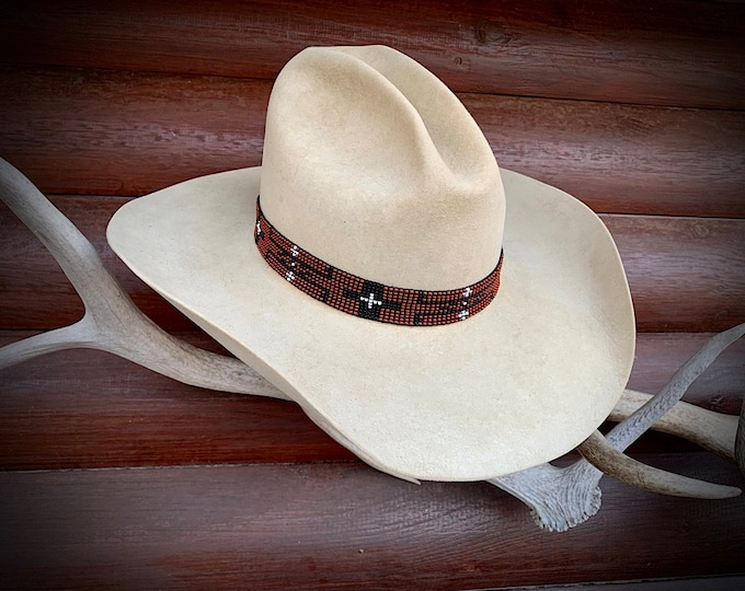 Beaded hat band, elastic stretch to fit, one size fits all, western retro fashion hat accessory, 1 inch rust, black, pearl beads with cross