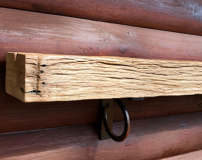 Rustic, vintage ranch oak 47in. mantel shelf, fireplace mantel, solid oak timber, custom timber mantel shelf, rustic decor, log home decor,