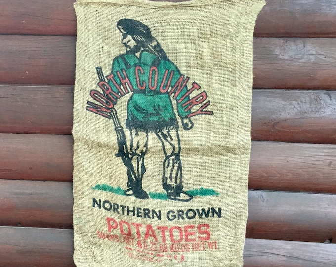 Vintage burlap sack, mountain man, Northern Grown 50 lb. sack, rustic vintage decor, window treatment, cabin decor, rustic curtain, country