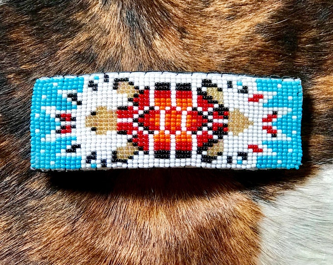 Hair barrette, beaded handmade native style, with turtle design, mother earth, native american symbol signifies good health, long life