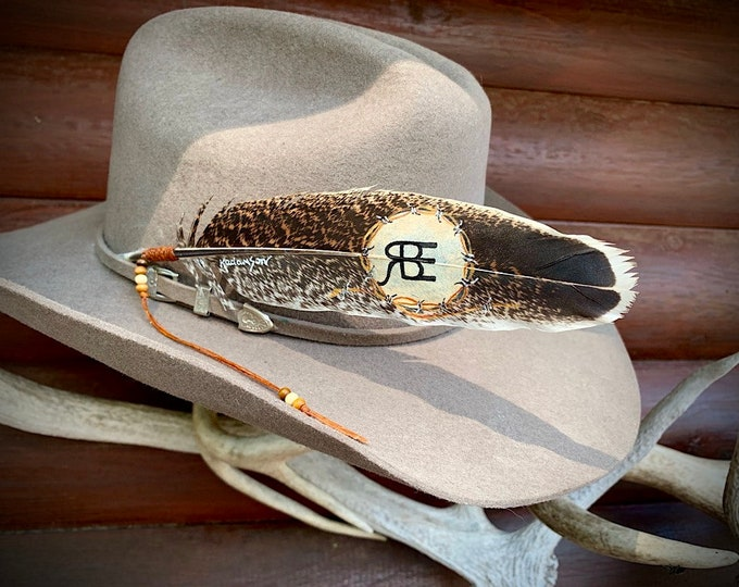 New custom hat feather to be personalized with your choice of initials or brand, beautiful mottled turkey wing, unusual, rare, western retro