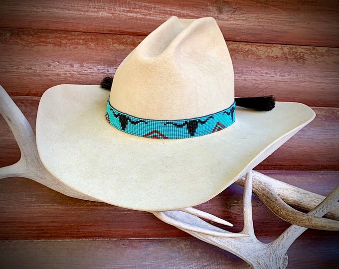 Beaded hat band, western hat band with longhorn steer head and horse hair ties with horse hair tassels, turquoise, black, red, beads, retro