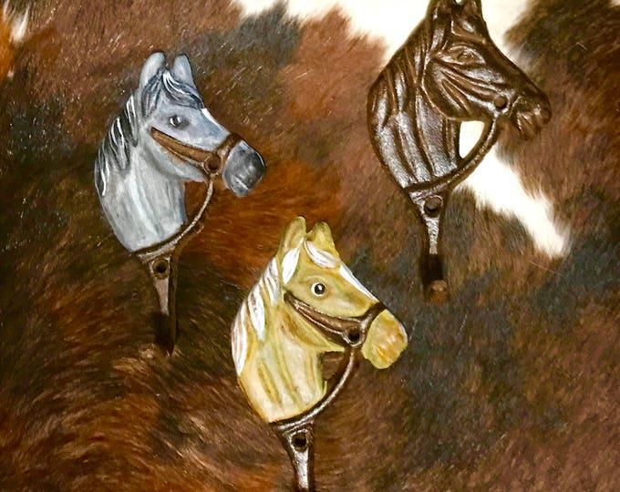 SALE, custom painted rustic iron horse tack hook, vintage style rustic iron hook, coat hook, cap hook, hat hook, bridle hook, western decor