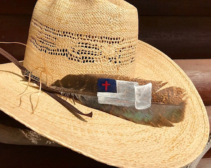 Custom American hat feathers, small Christian flag cowboy hat feather