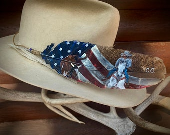 Custom hat feather, team roping, HEADER, with hand painted patriotic American flag background, roper and steer, team roper portrait art