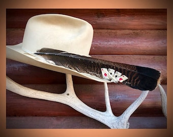 Custom cowboy hat feather, four aces, the good hand, western hat, painted hat feather, western art, feather art, western cowboy cowgirl gift