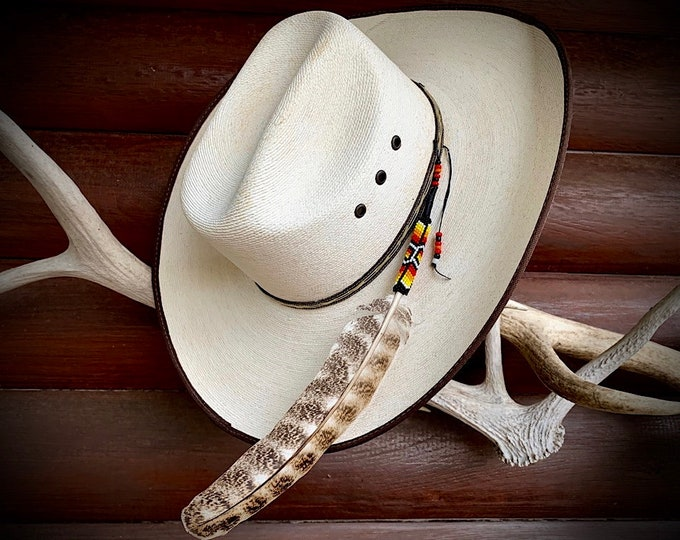 Beaded coup style HAT FEATHER, wild turkey feather wing feather, beaded and sinew wrapped quill, attaches to your hat band worn loose style