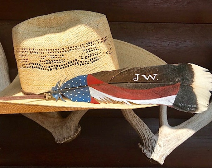 Hat feathers, personalized American hat feather for initials or brand, hand painted Merriam wild turkey tail feather