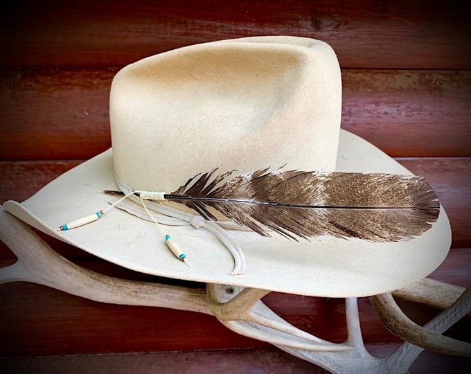 Custom hat feather, natural wild turkey juvenile tail feather, unique rare coloration, limited numbers, cowboy or cowgirl hat accessories,