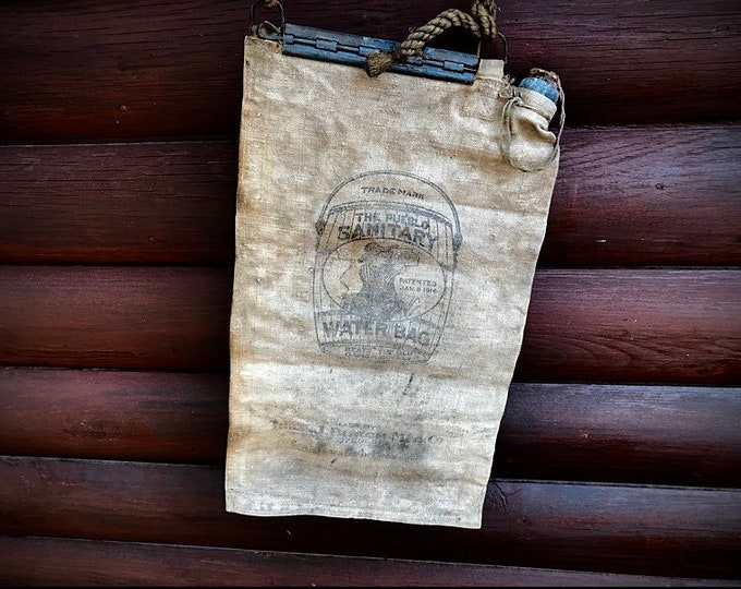Antique water bag, The old pueblo sanitary water bag, Made by the F. W Burch Mfg. Co. Pueblo, Colorado, western decor, farmhouse decor,