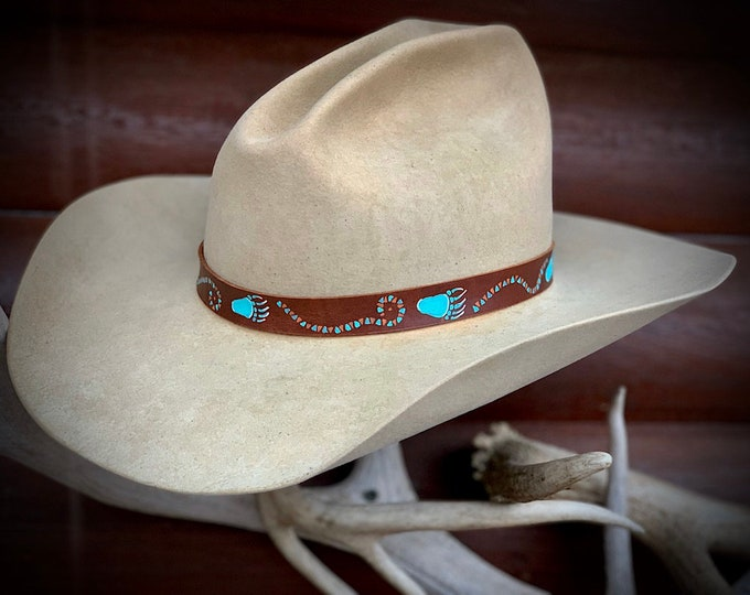 Leather hat band, handmade, hand painted bear paws and tribal pattern turquoise, terra cotta on natural 3/4 inch leather, adjustable tie