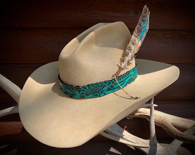 Leather hat band, custom hat feather combo, choose band and feather or hat band only, Special COMBO price, western retro hat accessories