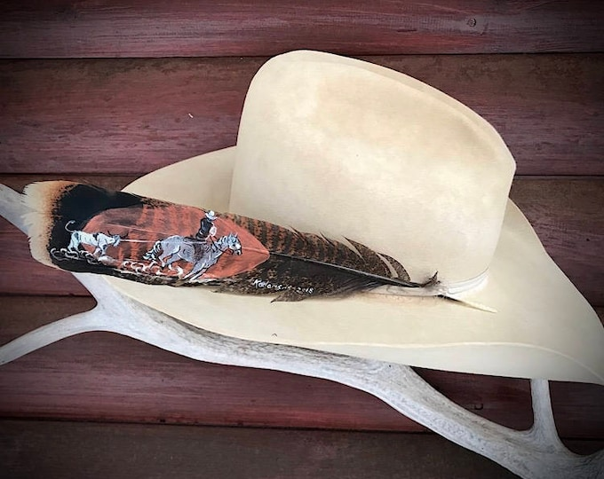 Custom hat feather, team roper, team roping header, american hat feather, cowboy hat feather, cowgirl hat feather