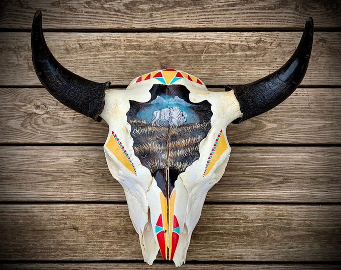 Buffalo Skull, hand painted arrowhead with white buffalo scene, tribal pattern, authentic real Buffalo skull, western, wall hanging art