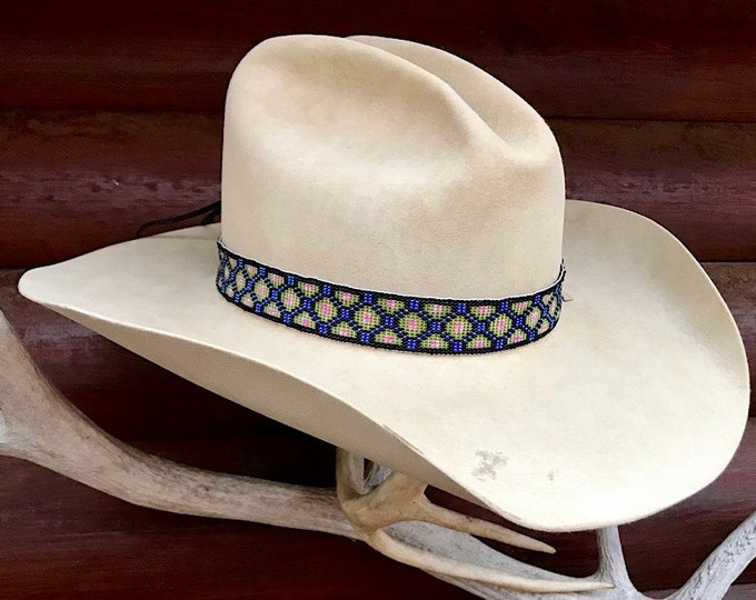 Beaded hat band, western retro cowboy or cowgirl hat band, 1 inch wide, hat accessory, black,lavender,green and pink beads, handmade artwork