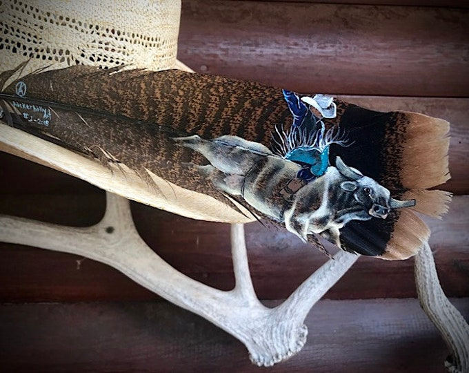 Bull Riding, special series, custom hat feather, The Legends of Bull riding, cowboy hat feather, rodeo, bucking bull art