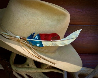 American Flag Hat Feathers, cut out style, waiving red and white stripes, handmade in USA, keep America Great, show your western patriotism