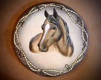 Western art, acrylic horse painting on wood, 15 inch round, cowboy art, cattle brands and rope accent, equine art, hand painted, rustic