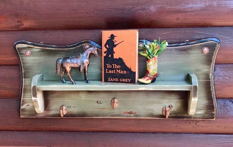683e2c18 Rustic decor antiqued patina green shelf hat rack | Etsy