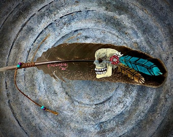 Custom hat feathers, The Devil Rides among Us, hand painted rare turkey feather, skull art, boho western cowgirl chic, retro fashion, hippie