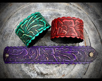 Womens leather bracelet, carved leather cuff, tooled leather, turquoise, red, purple leather wrist cuff, 1 1/2 x  8 1/2 inches, western cuff