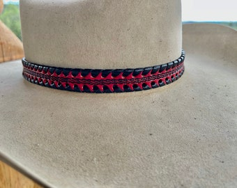 Red leather HAT BAND with black leather laced edge, western retro cowboy hat band, boho hippie, custom hats, handmade in USA, hat accessory