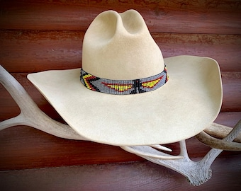Beaded hat band, thunderbird and cross headband, elastic stretch style beadwork in gray, yellow, red, black, western cowboy or cowgirl hat,