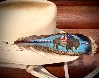 Custom hat feather American Bison, hand painted wild turkey tail feather, native style bison draped in American Flag, red, blue, western