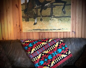 Western decor, New woven cotton throws, southwest throw, southwestern, native inspired pattern, 60 x 48, red, turquoise, black, yellow,