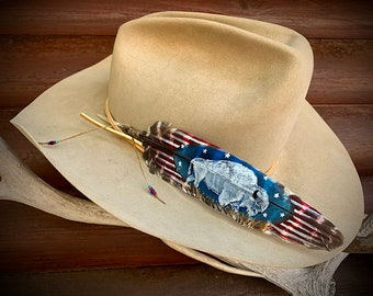 White buffalo custom hat feather,red, white, blue, stars and stripes, sacred symbol of hope and good times to come, western retro, cowboy