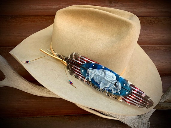 white blue sacred symbol of hope and good times to come stars and stripes western retro cowboy White buffalo custom hat feather,red