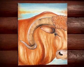 Original canvas art, western art, acrylic painting, longhorn bull art, by Kathy Adamson, hickerbilly art, western furnishings, cowboy decor