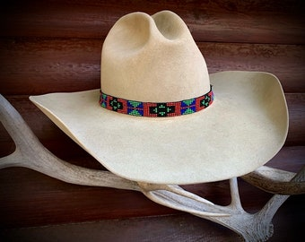 FREE SHIPPING , New color, Beaded hat band, 5/8 inch wide, western retro fashion, red, purple, sage green and black, boho hippie hat, cowboy